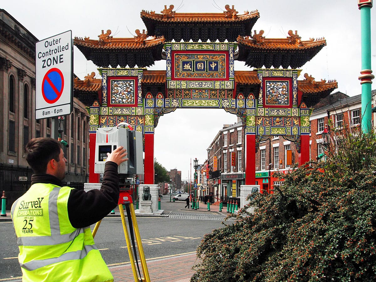 Survey operations surveying china town.