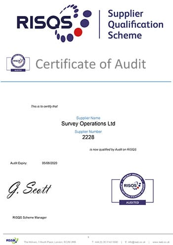 Survey Operations RISQS certificate of audit.