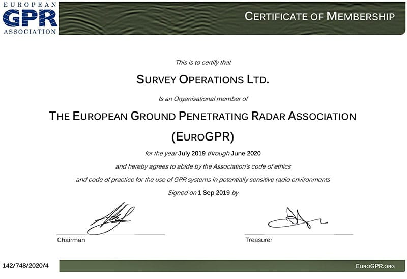 Survey Operations GPR Certification