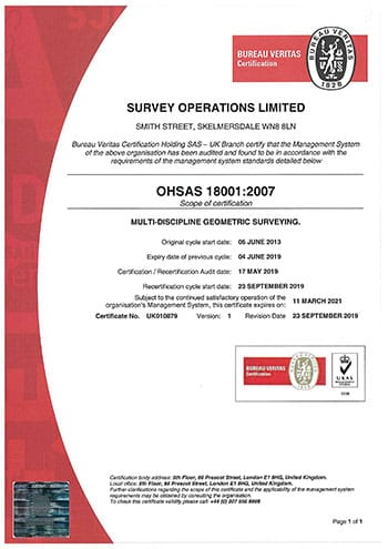Survey Operations OHSAS 18001 Certification.