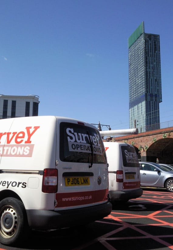 Survey Operations vans in Manchester.