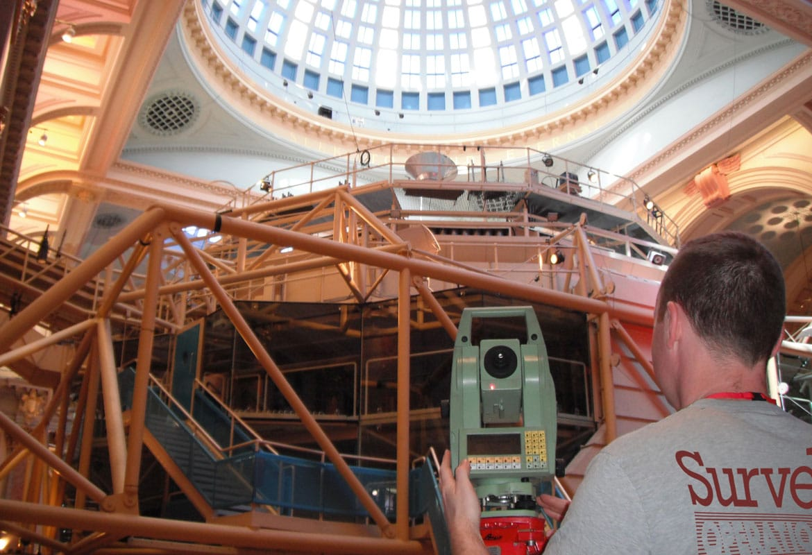 Engineering surveys taking place in the Trafford Centre in Manchester.