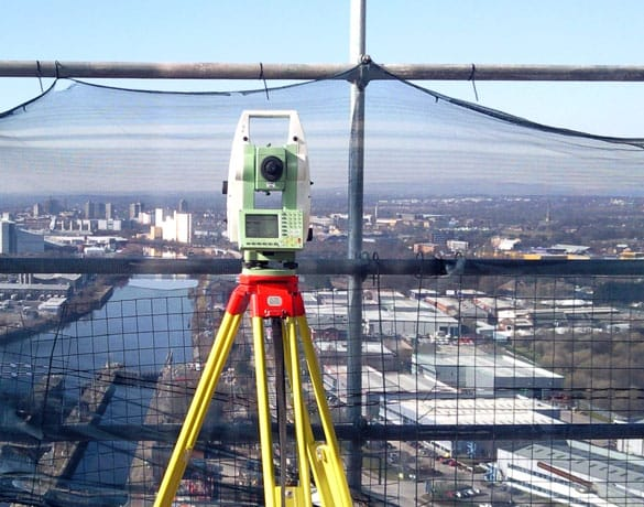 Surveying from the top of a large building