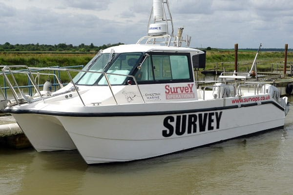White Osprey boat used for inland hydrographic surveying.