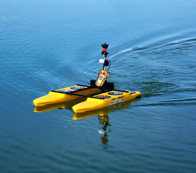 Remote controlled boat used for surveying.