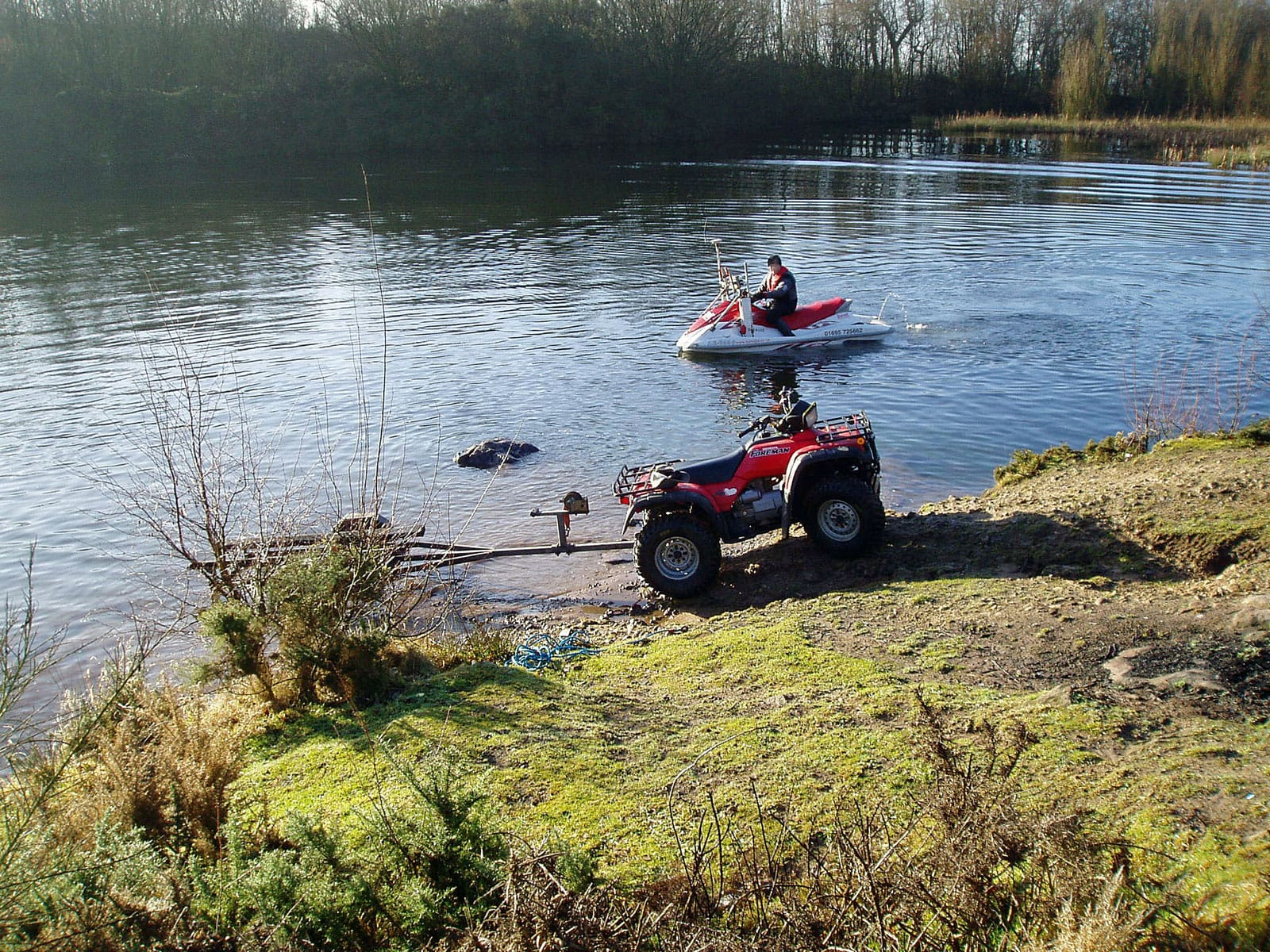 Surveying a lake on a Jet Ski