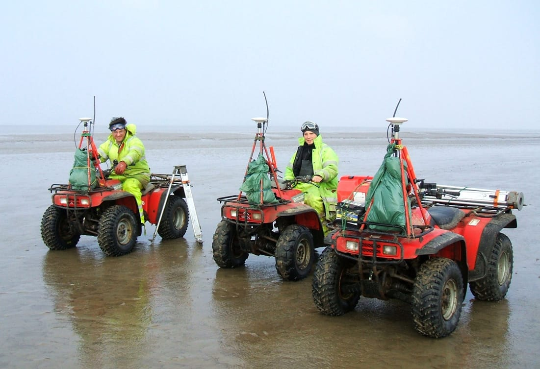 Survey Operations GNSS survey completed by surveyors using quad bikes.