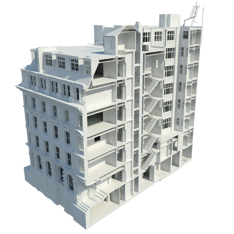 Revit Model Production of a building slice from Survey Operations.