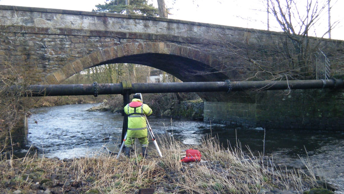 River cross section surveying.