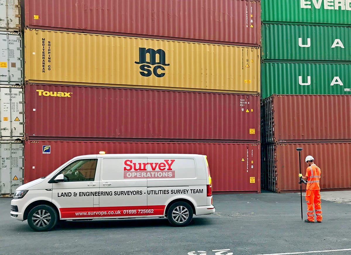 Surveying near shipping containers