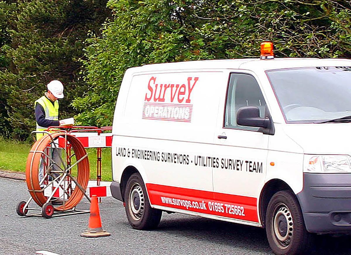 Survey Operations Utility Surveying on a road.