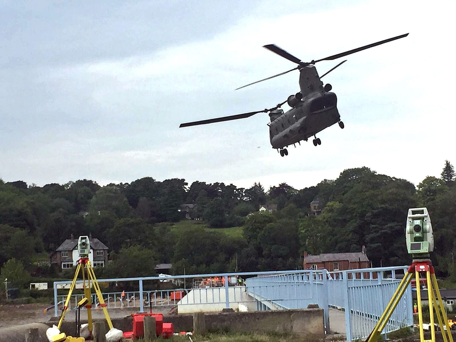 Chinook helipcopter helping at Toddbrook reservoir